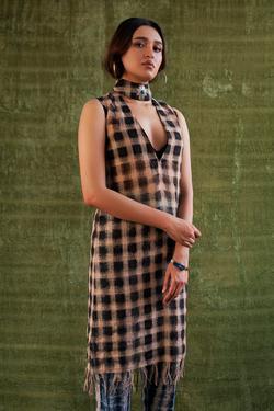 Handloom Linen Checkered Tunic
