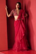 Pre-Draped Ruffle Saree with Embroidered Blouse