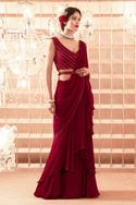 Ruffle Saree with Embroidered Blouse