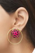 Hand Embroidered Hoop Statement Earrings