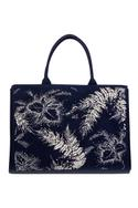 Cotton Canvas Floral Embellished Tote Bag