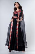 Organza Cape with Pleated Jumpsuit