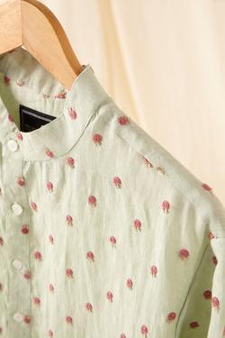 Embroidered Linen Kurta & Pant Set