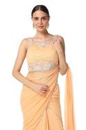 Tiered Lehenga Saree with Embroidered Blouse