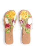 Clear Strap Embroidered Sliders