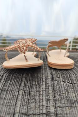 Bead Embroidered Starfish Sandals