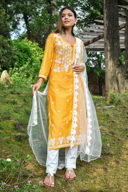 Chanderi Chikankari Kurta Set