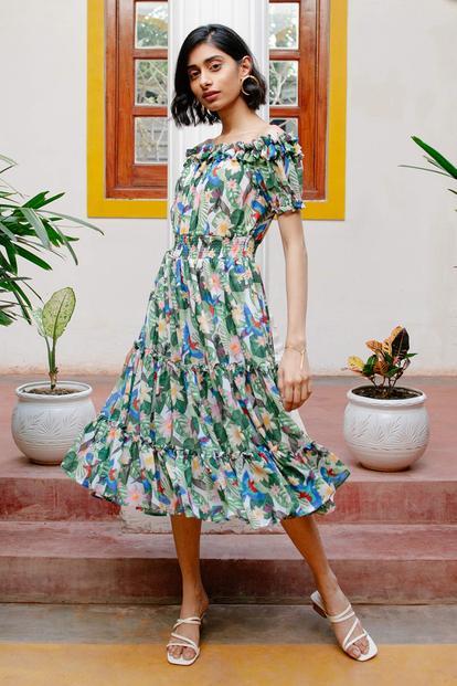 Lovebird Tropical Summer Dress
