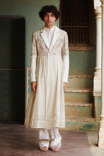 Chanderi Jacket & Pant Set