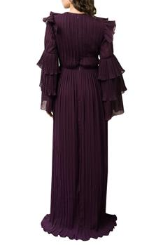 Pleated Gown With Tiered Sleeves