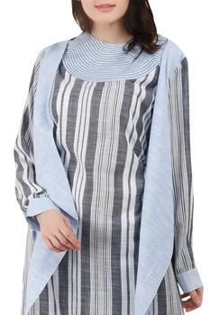 Striped Midi Dress with Attached Jacket