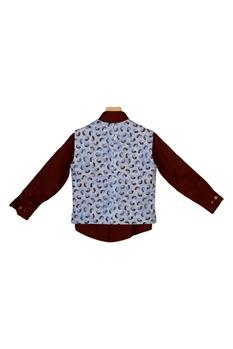 Printed Waist Coat With Shirt & Bow