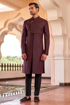 Overlap yoke detail sherwani set