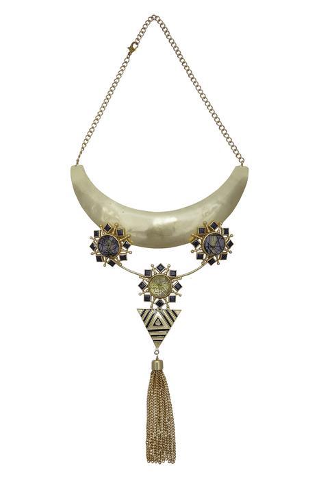 Moon style tassel necklace