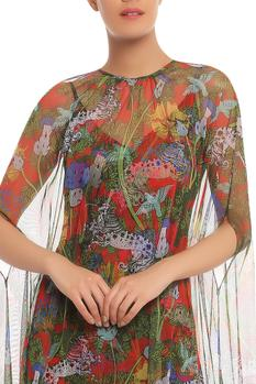 Printed Dress with Cape