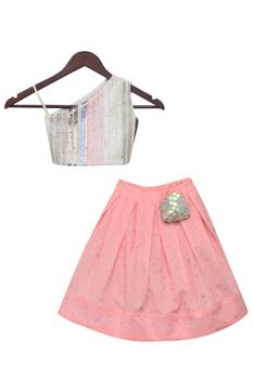 Sequin top with pleated skirt