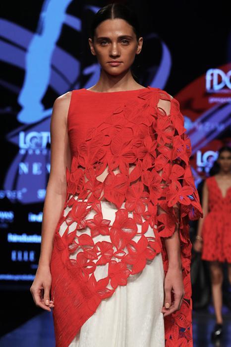 Pre-pleated floral cutwork saree