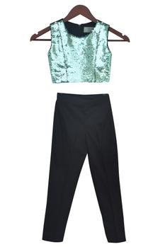 Sequin Top With Pant & Shrug
