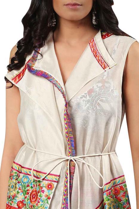 Silk Chanderi Embroidered Jacket
