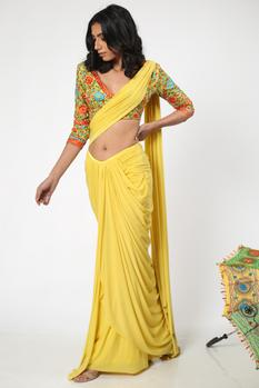 Pre-Draped Saree With Blouse