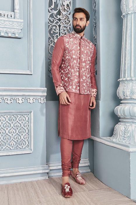 Silk Embroidered Nehru Jacket Set
