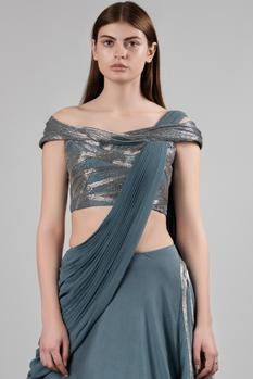 Embellished Lehenga Saree with Blouse
