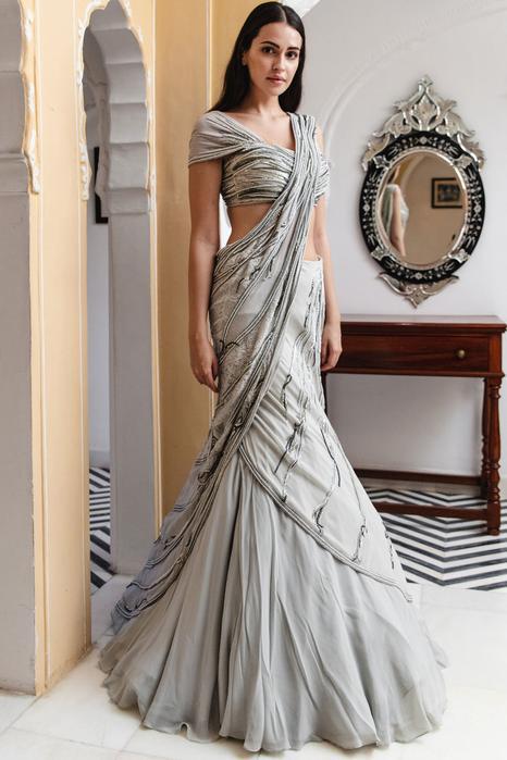 Embellished Lehenga Saree with Blouse