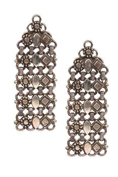 Oxidized Carved Long Earrings