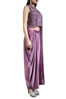 Plum sequined cape top with drape skirt