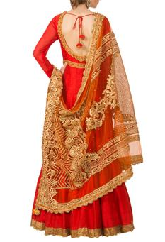 Red embroidered anarkali set
