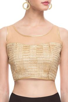 Gold sequined blouse with illusion neckline