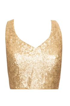 Gold sequined blouse with cross back