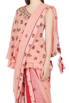 Salmon pink one shoulder top with skirt & dupatta