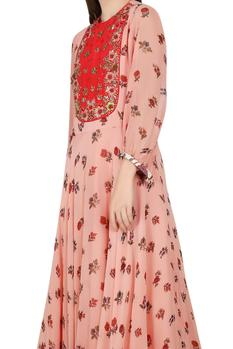 Salmon pink printed & embellished dress