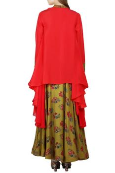 Coral red kurta with olive green skirt