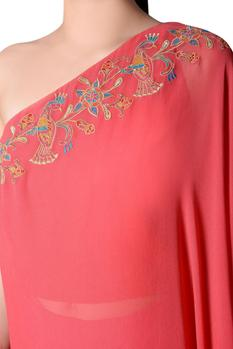 Coral pink embroidered kurta with pink pants