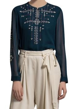 Teal blue embroidered top