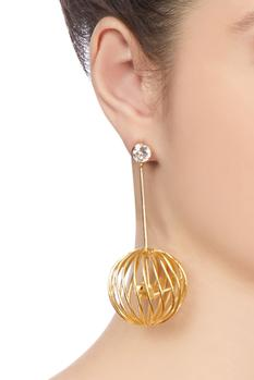 Gold plated earrings with birdcage motif