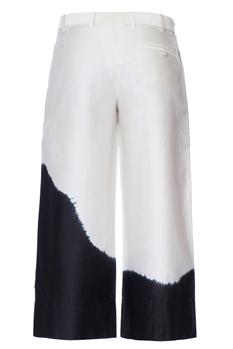 White & black double layered tie & dye chanderi pants