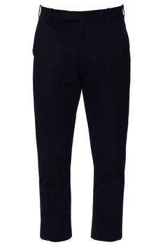Blue fitted formal chanderi trousers