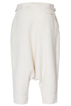 White drop crotch chanderi loose pants