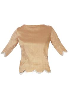Gold blouse with scallop border