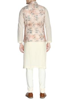Rose pink floral print nehru jacket set