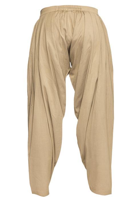 Beige cotton silk patiala pants