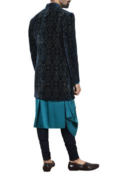 Blue printed sherwani set