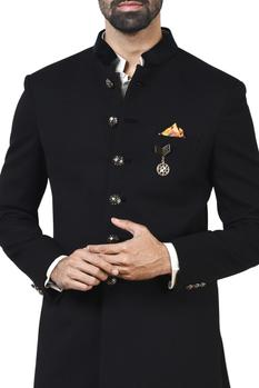 Black sherwani with kurta & patiala pants