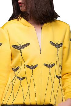 Bright yellow embroidered jacket