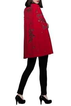 Red & black embroidered crepe cape