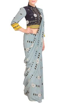 Grey printed saree with button-down blouse