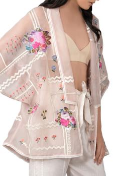 Champagne rose 3D cut embroidered jacket